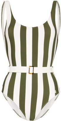 Solid & Striped Anne Marie belted striped swimsuit