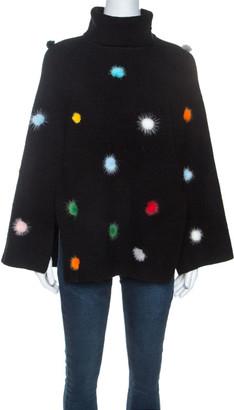 Fendi Black Wool Pom Pom Detail Turtleneck Cape (One Size)