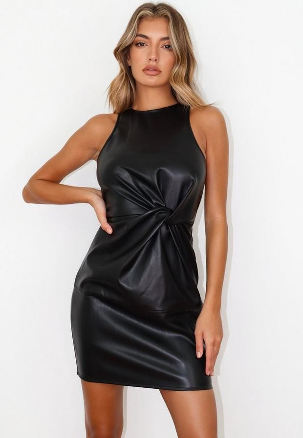 Missguided Black Faux Leather Twist Front Mini Dress