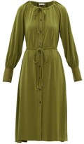Proenza Schouler White Label - Gathered-neck Jersey-crepe Shirt Dress - Womens - Green
