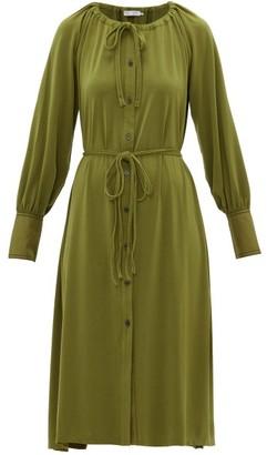 Proenza Schouler Pswl - Gathered-neck Jersey-crepe Shirt Dress - Womens - Green