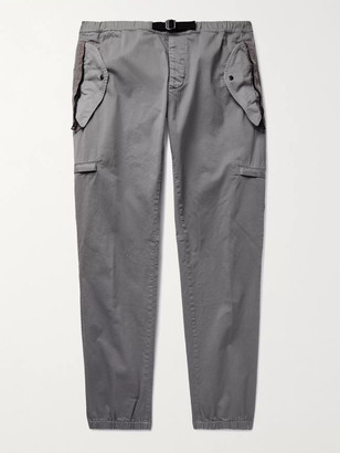 Moncler Tapered Belted Shell-Trimmed Stretch-Cotton Twill Cargo Trousers - Men - Gray