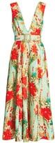Badgley Mischka Floral Belted Cocktail Dress