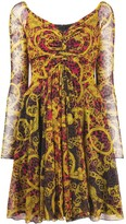 Versace ruched baroque dress