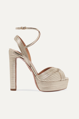 Aquazzura Caprice 130 Metallic Faux Leather Platform Sandals - Gold