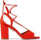 Aquazzura Austin Lace-up Suede Sandals - Tomato red