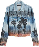 Amiri Distressed Denim Jacket with Palm Print