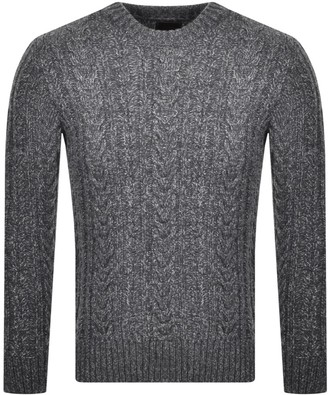 Superdry Crew Neck Jacob Cable Knit Jumper Grey