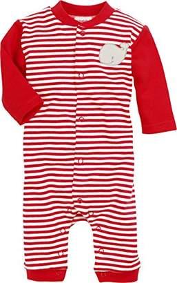 Schnizler Unisex Baby Schlafoverall Wal, Rot geringelt, Oeko-Tex Standard 100 Sleepsuit, Red (Rot/weiß)