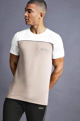 BEIGE BoohoomanBoohooMAN Mens MAN Fit T-Shirt With Panelling,