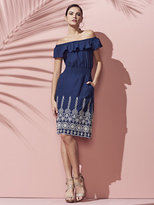 New York & Co. Off-The-Shoulder Embroidered Dress