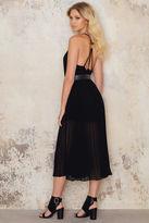 Pleated Chiffon Strap Midi Dress