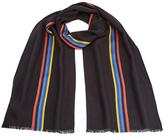 Paul Smith Men's Central Stripe Wool Scarf Navy