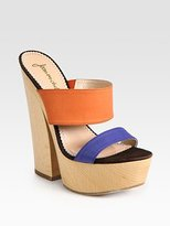 Jean-Michel Cazabat Winona Colorblock Leather & Wooden Platform Sandals