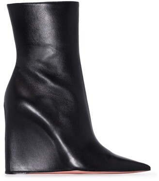 Amina Muaddi Pointed 95mm Wedge Boots