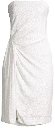 Black Halo Domino Sequin Strapless Dress