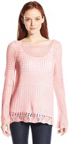 NY Collection Women's Petite Long Raglan Sleeve Boat Neck Open Stitch Pullover Sweater
