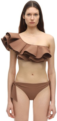 Johanna Ortiz Smell Of Coffee Ruffled Lycra Bikini Top