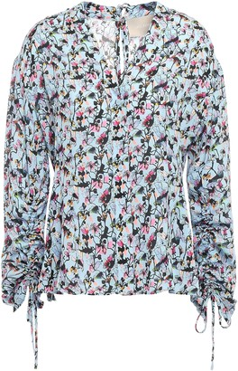 Jason Wu Gathered Floral-print Crepe Blouse