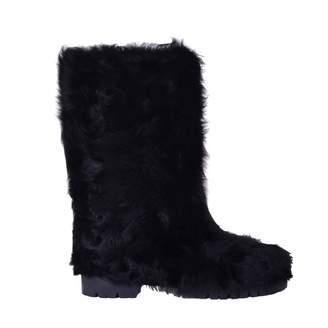 Dolce & Gabbana Black Fur Boots