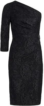 Teri Jon by Rickie Freeman One-Shoulder Beaded Sheath Dress