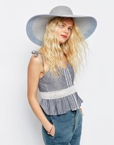 Asos Straw Oversized Metallic Silver Floppy Hat With Color Block Brim