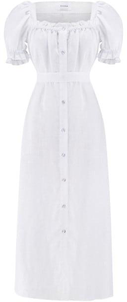 Sleeper Brigitte Linen Puff-Sleeve Dress