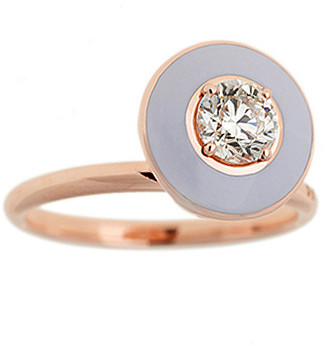 Selim Mouzannar Lilac Enamel Diamond Ring - Rose Gold