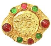 Chanel Gripoix Red Green Logo Pin Brooch