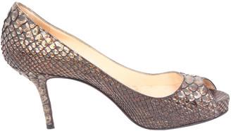 Christian Louboutin Black Python Leather Peep Toes Pumps Size 34.5