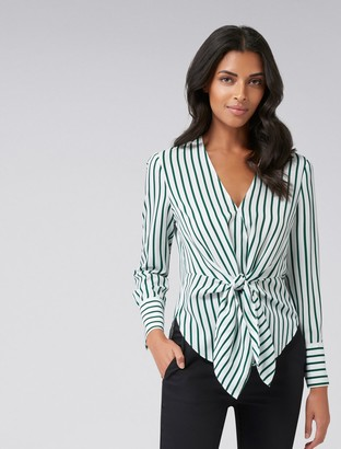 Forever New Deborah Stripe Tie Front Blouse - Green Stripe - 16