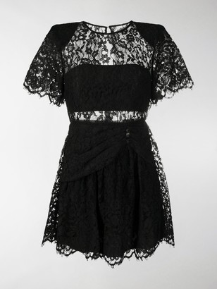 Self-Portrait Lace-Trimmed Short-Sleeved Mini Dress