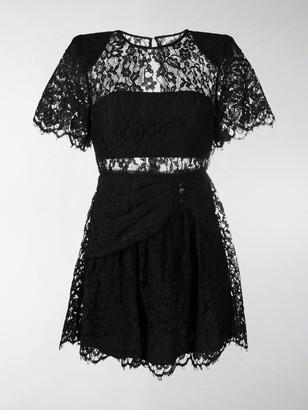 Self-Portrait Lace-Trimmed Short-Sleeved Mini Dress