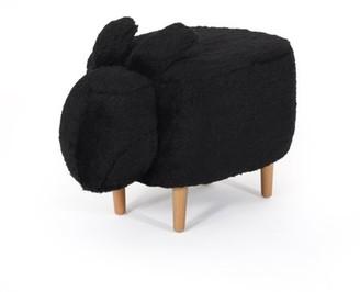 Noble House Angelique Fabric Kids Bunny Ottoman Stool, Black