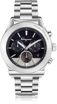 Salvatore Ferragamo 1898 Silver Stainless Steel Men's Chronograph Watch w/Black Dial