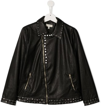 Twin-Set TEEN studded faux-leather jacket