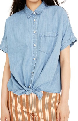 Madewell Tie Front Short Sleeve Denim Shirt