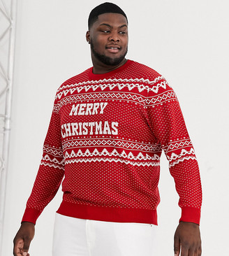 Jack and Jones Originals Holidays fairisle knitted sweater in red