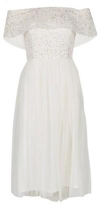 Dorothy Perkins Womens **Showcase White Embroidered Bardot Midi Dress, White