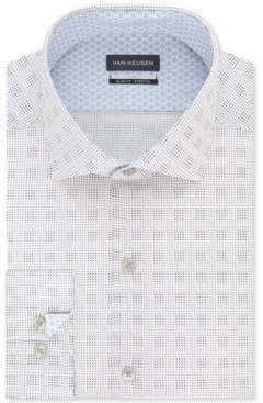 Van Heusen Men's Air + Slim-Fit Non-Iron Performance Stretch Geo-Print Dress Shirt