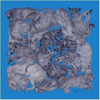 Arlette Ess 'Sleeping Dogs' Azure Fringed Silk Twill Scarf