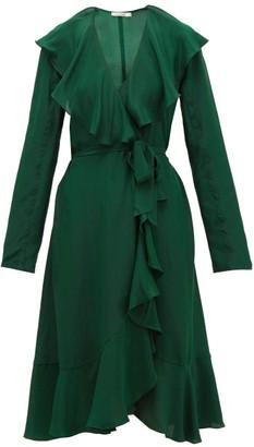 Mes Demoiselles Exauce Ruffled Silk-satin Dress - Green