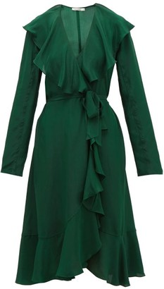 Mes Demoiselles Exauce Ruffled Silk-satin Dress - Womens - Green