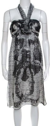 Chanel Monochrome CC Printed Dotted Silk Halter Dress S