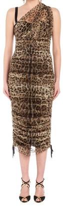 Dolce & Gabbana One-Shoulder Leopard Print Dress