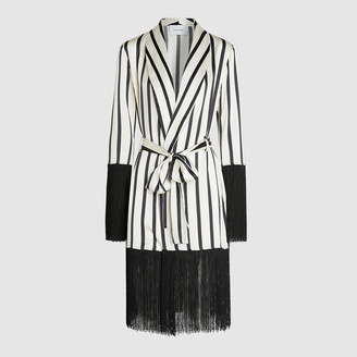 Leone We Are White Lily Striped Fringe Hem Silk Robe Size S