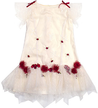 Biscotti Girls' Special Occasion Dresses CREAM - Cream Floral-Accent Tiered Mesh Drop-Waist Dress - Toddler & Girls