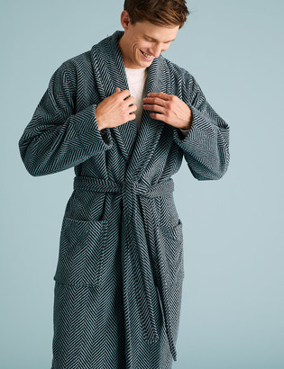 Marks and Spencer Pure Cotton Striped Towelling Dressing Gown