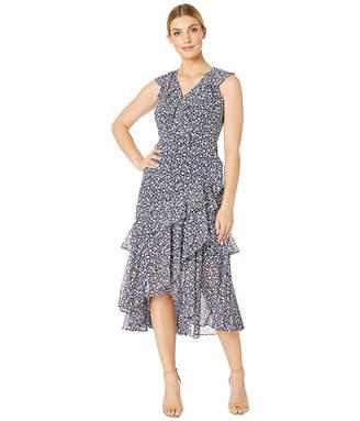 Maggy London Petal Scroll Printed Chiffon Dress (Navy/Blue) Women's Dress