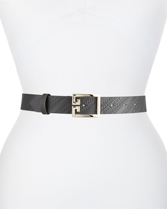 Givenchy Leather Logo Embossed Belt w/ Double G Buckle